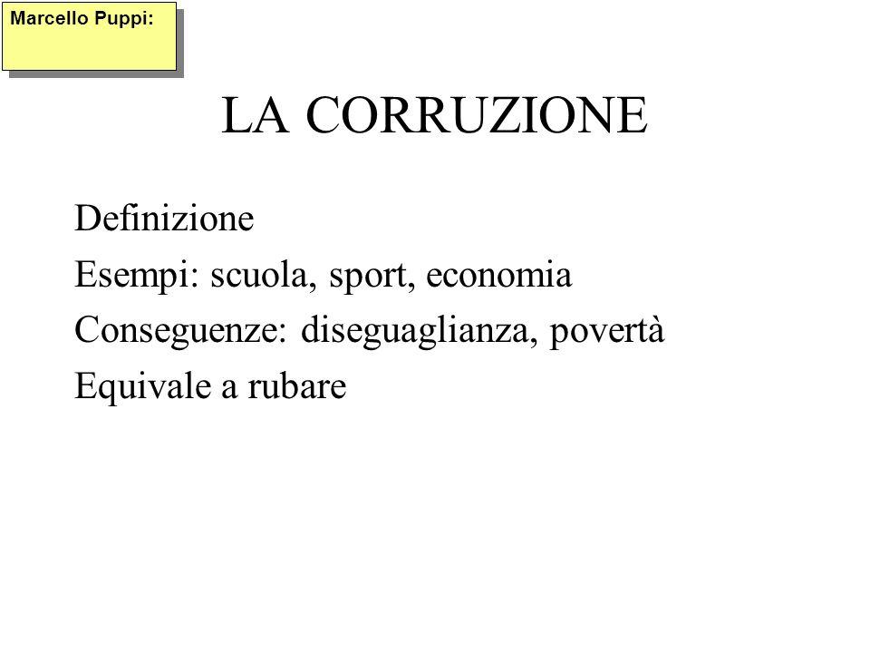 LA CORRUZIONE Definizione Esempi: scuola, sport, economia