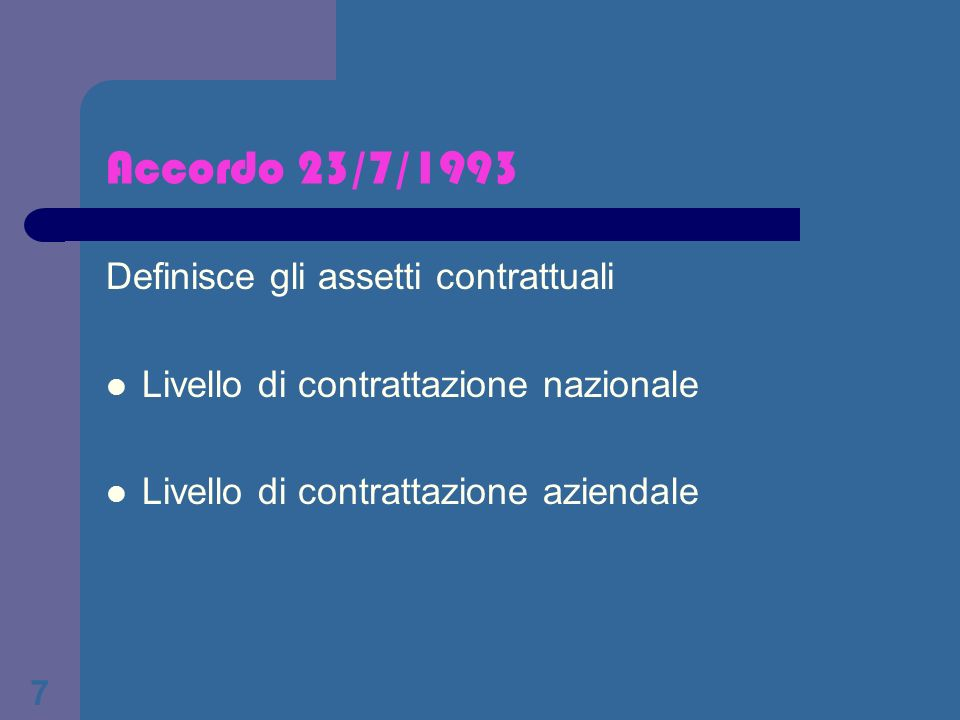 Accordo 23/7/1993 Definisce gli assetti contrattuali