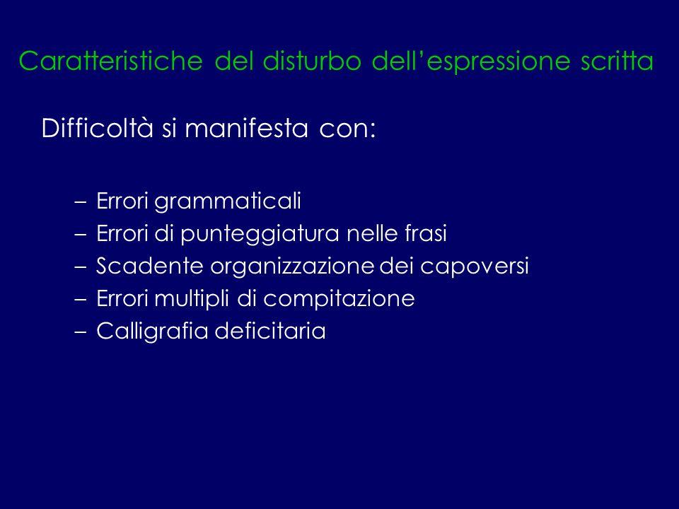 Caratteristiche del disturbo dell'espressione scritta