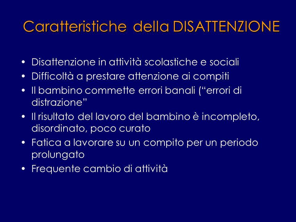 Caratteristiche della DISATTENZIONE