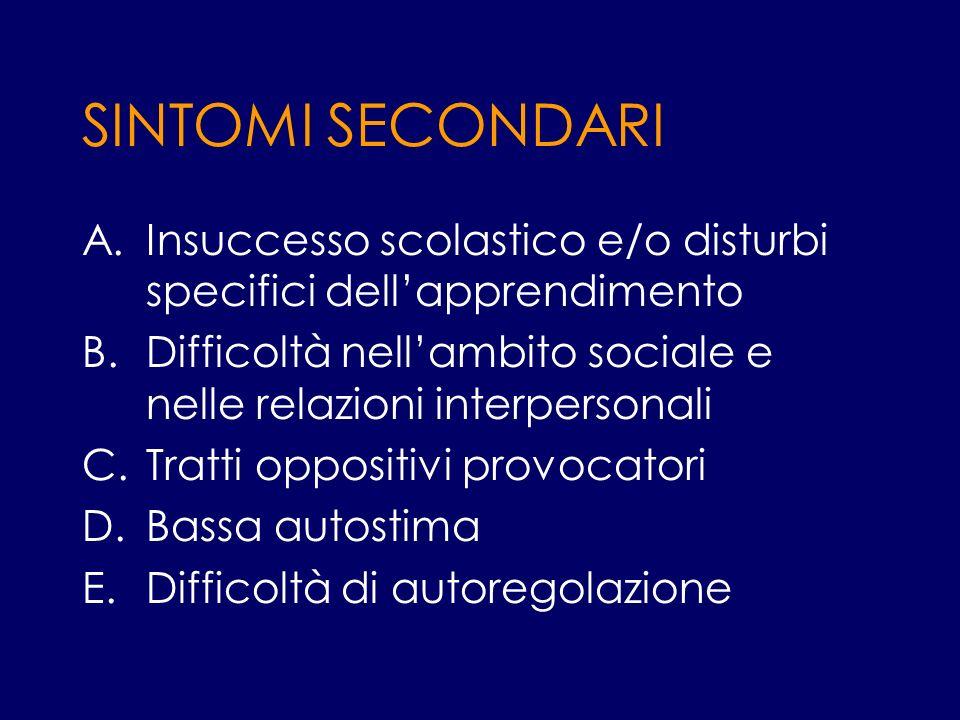 SINTOMI SECONDARI Insuccesso scolastico e/o disturbi specifici dell'apprendimento. Difficoltà nell'ambito sociale e nelle relazioni interpersonali.