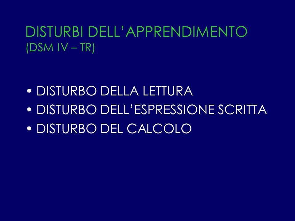 DISTURBI DELL'APPRENDIMENTO (DSM IV – TR)