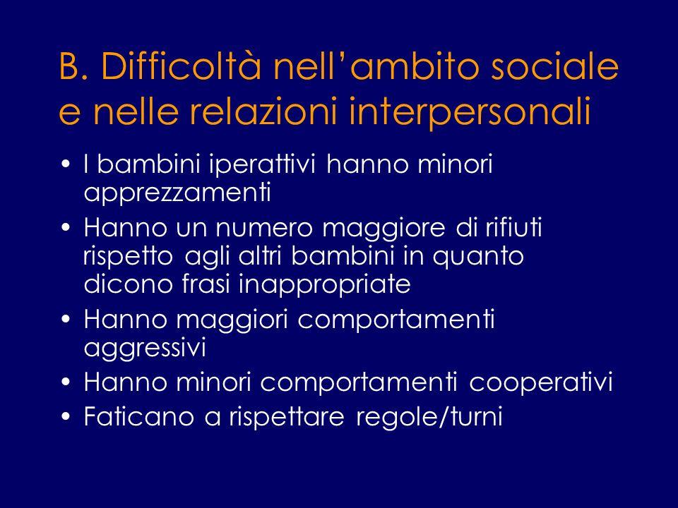 B. Difficoltà nell'ambito sociale e nelle relazioni interpersonali