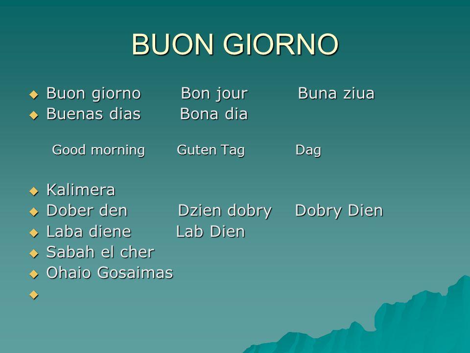 BUON GIORNO Buon giorno Bon jour Buna ziua Buenas dias Bona dia