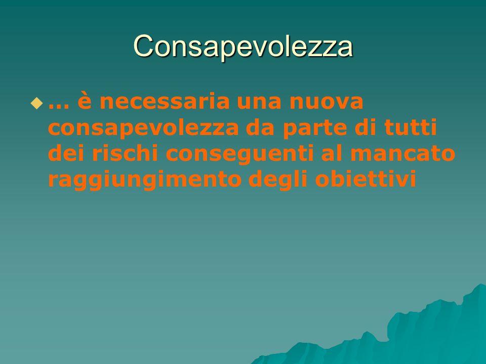 Consapevolezza … è necessaria una nuova consapevolezza da parte di tutti dei rischi conseguenti al mancato raggiungimento degli obiettivi.