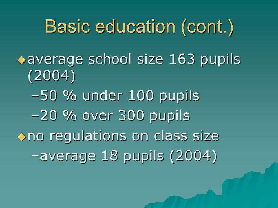 Basic education (cont.)