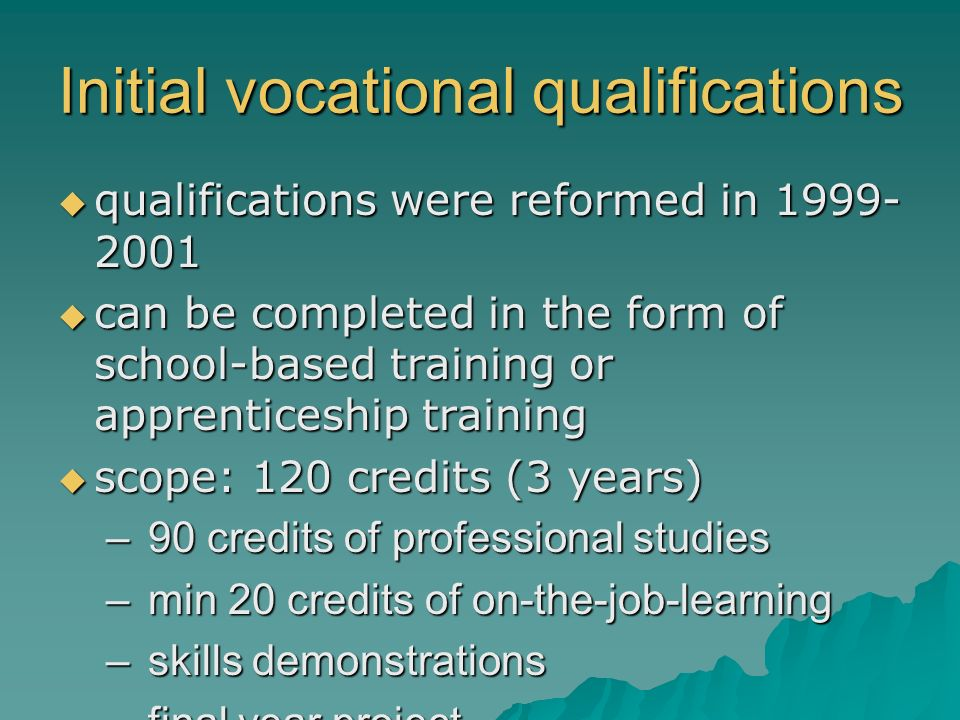 Initial vocational qualifications