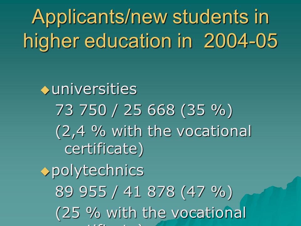 Applicants/new students in higher education in 2004-05