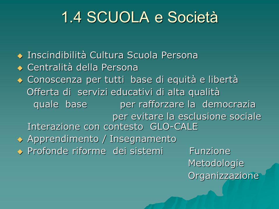 1.4 SCUOLA e Società Inscindibilità Cultura Scuola Persona