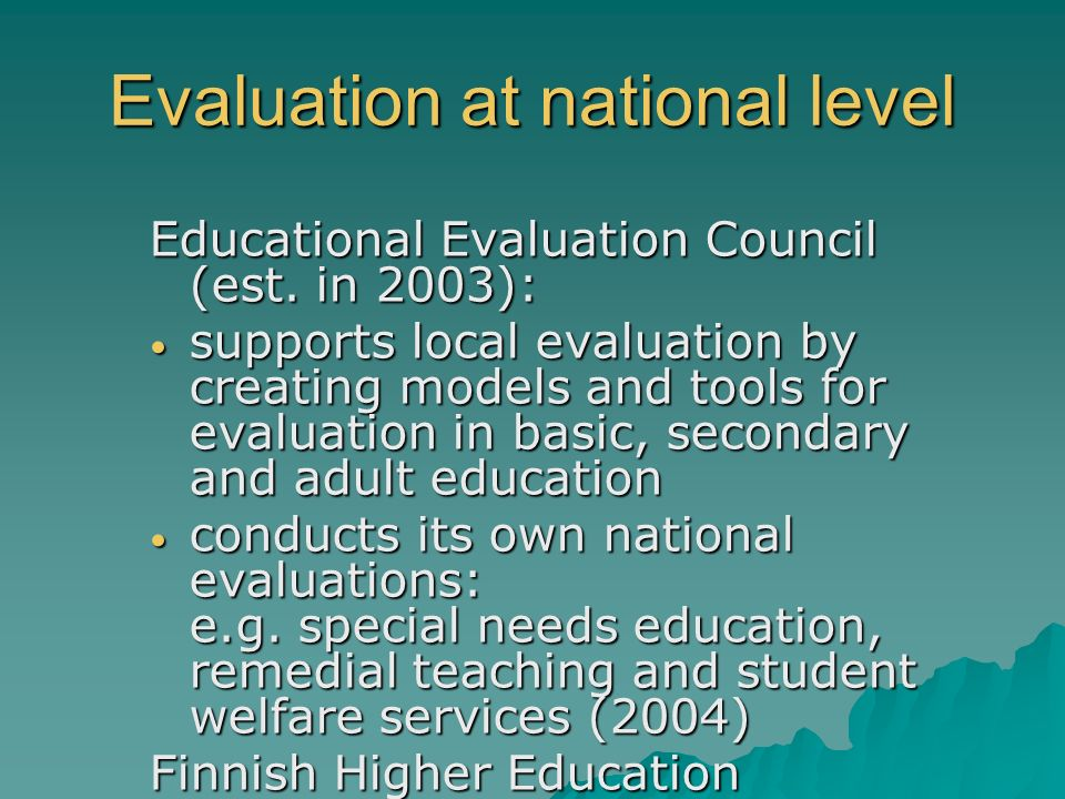Evaluation at national level