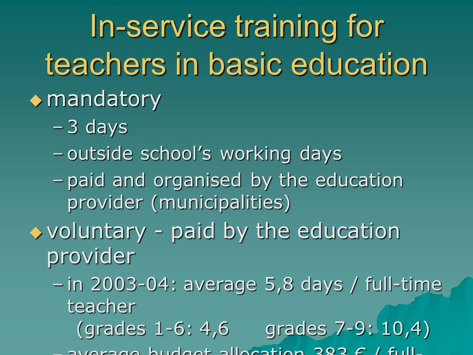 In-service training for teachers in basic education