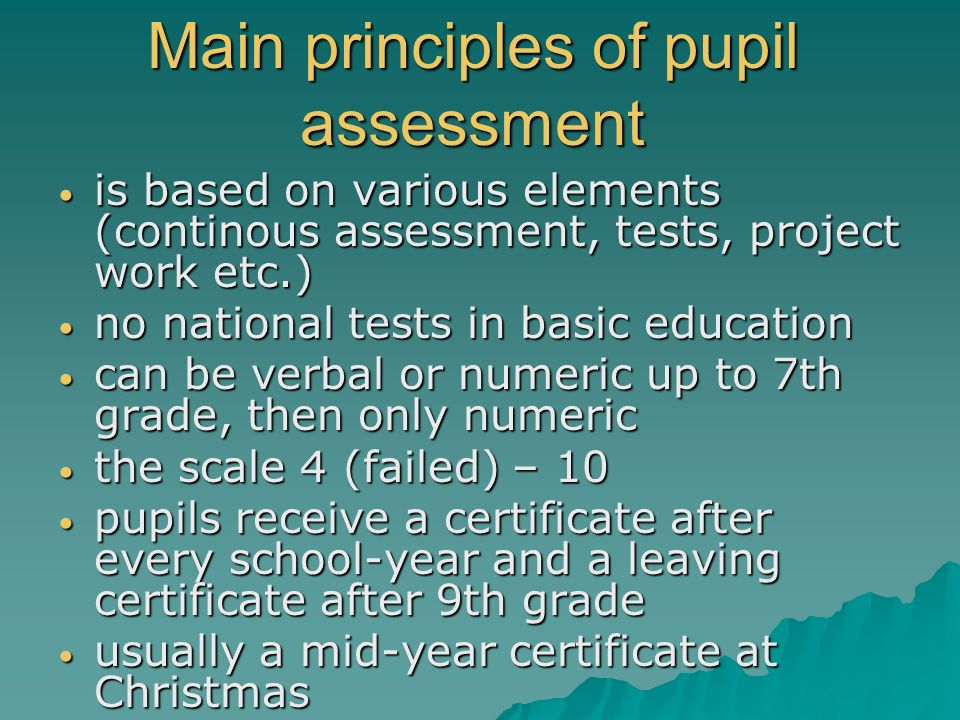 Main principles of pupil assessment