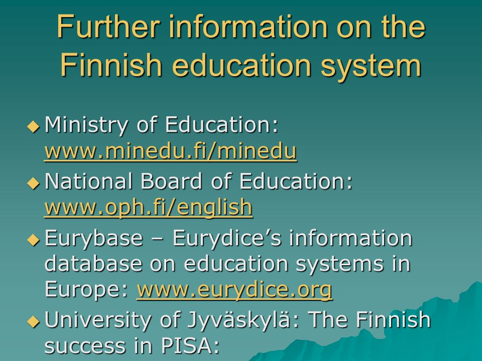 Further information on the Finnish education system