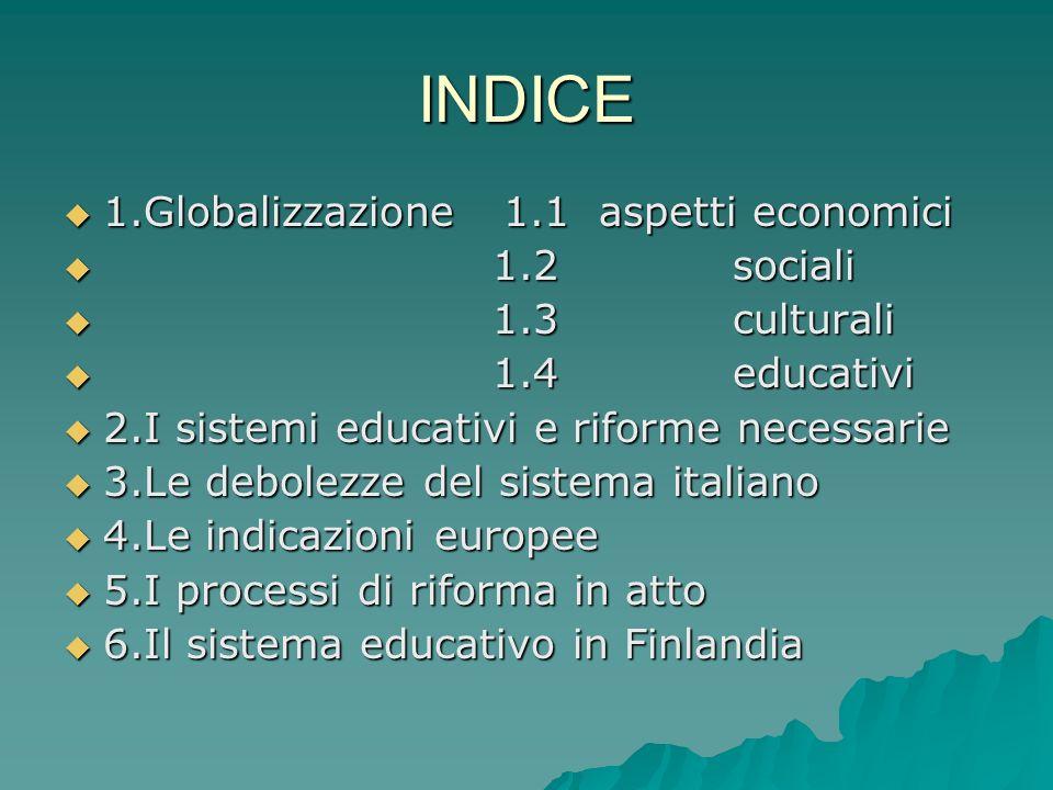 INDICE 1.Globalizzazione 1.1 aspetti economici 1.2 sociali