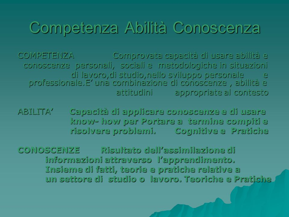 Competenza Abilità Conoscenza