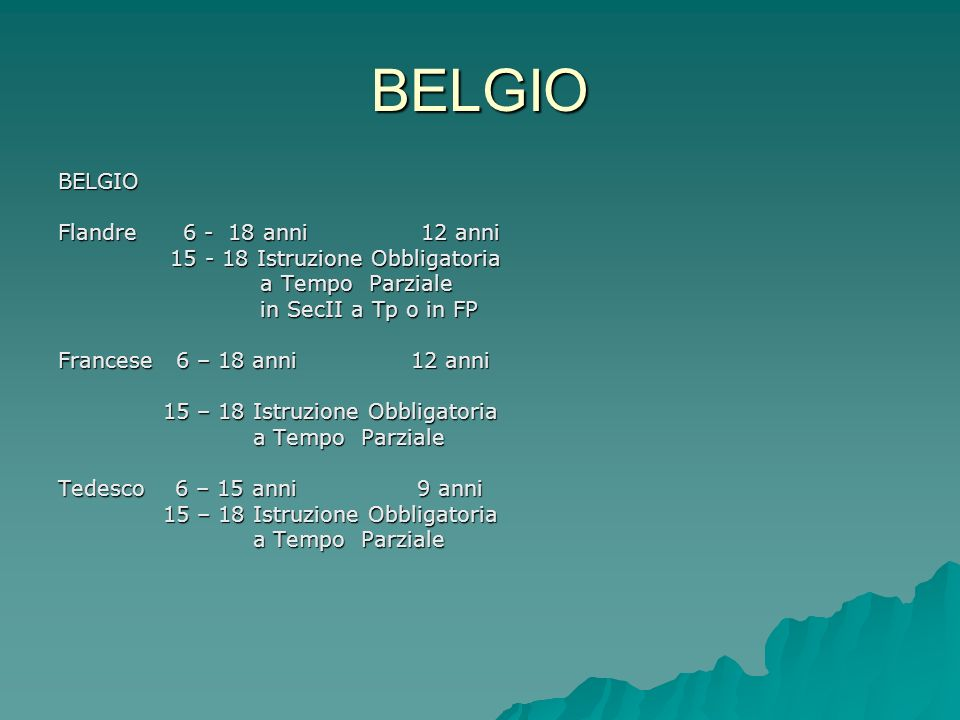 BELGIO BELGIO Flandre 6 - 18 anni 12 anni
