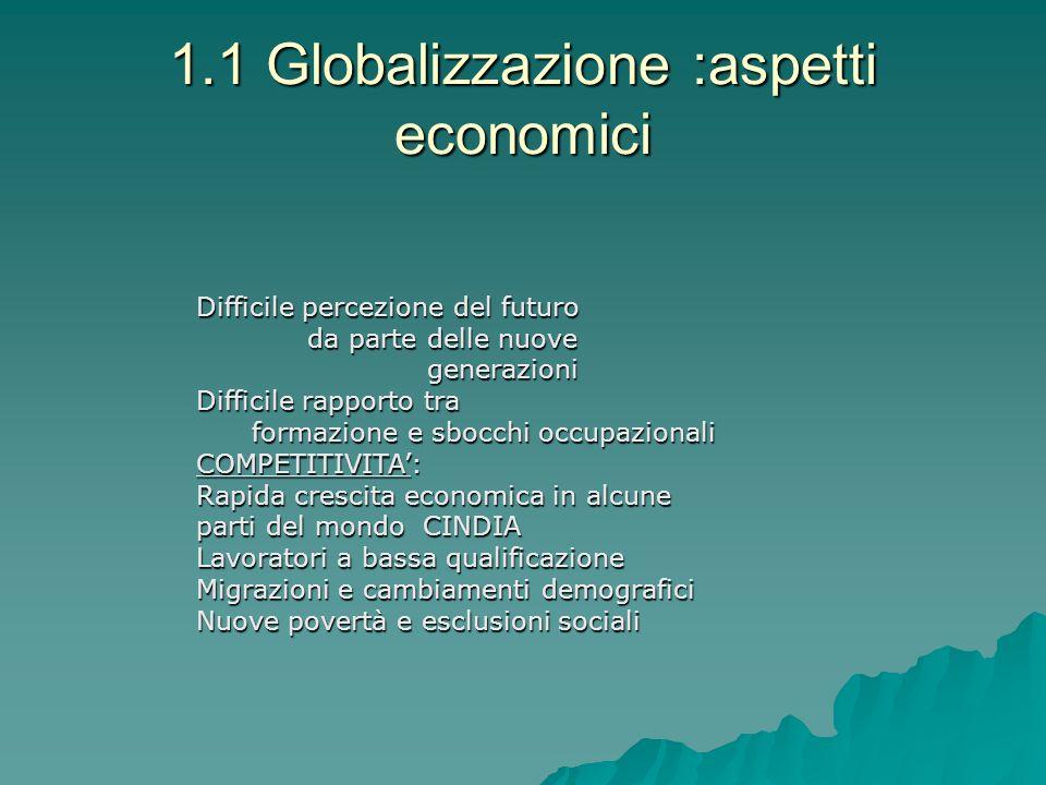 1.1 Globalizzazione :aspetti economici