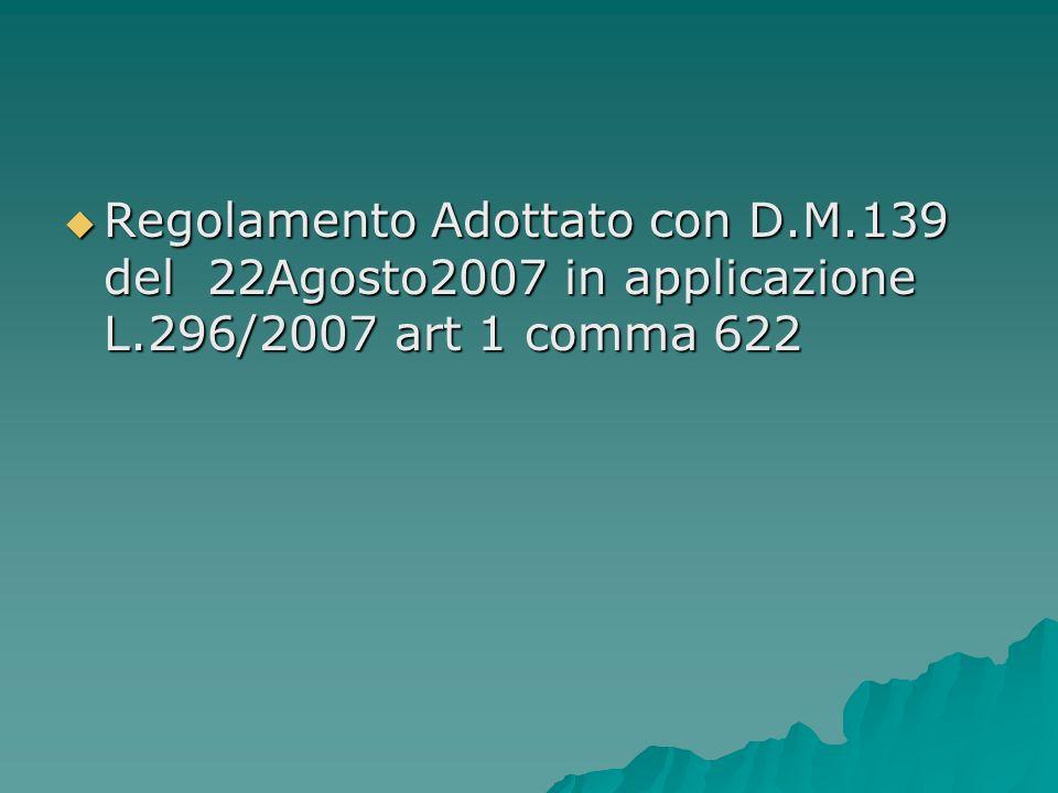 Regolamento Adottato con D. M. 139 del 22Agosto2007 in applicazione L