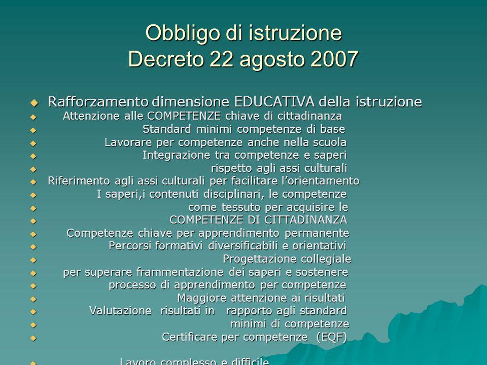 Obbligo di istruzione Decreto 22 agosto 2007