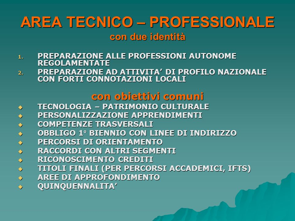 AREA TECNICO – PROFESSIONALE con due identità