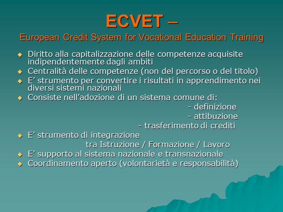 ECVET – European Credit System for Vocational Education Training