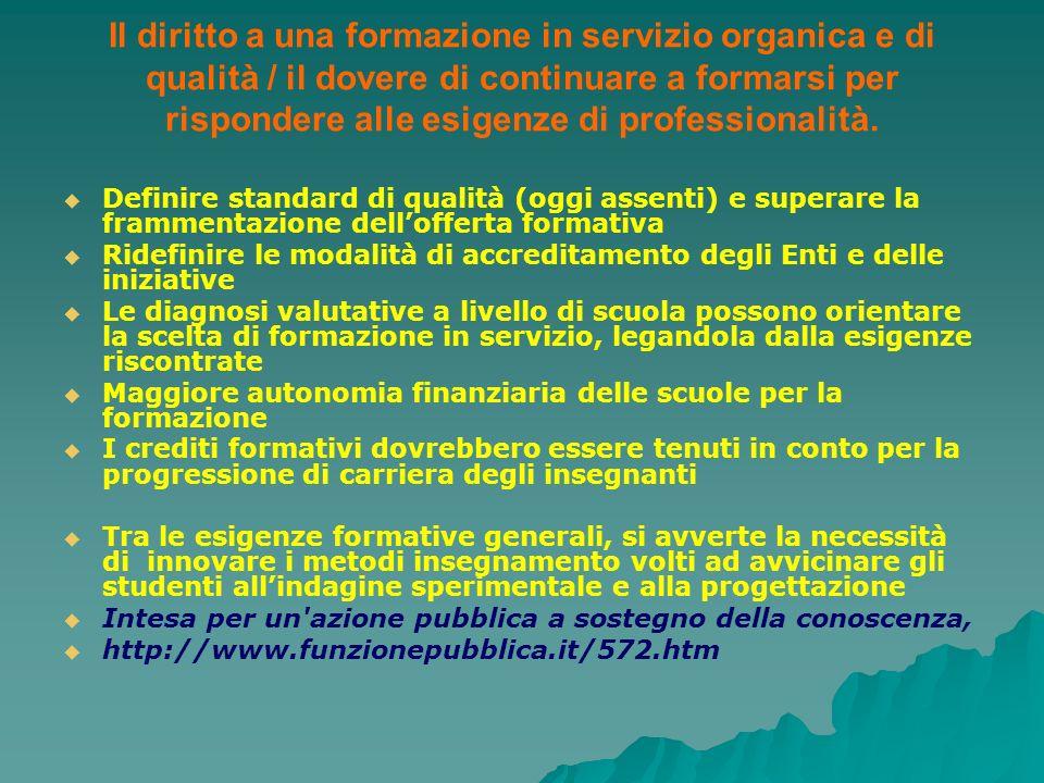 Il diritto a una formazione in servizio organica e di qualità / il dovere di continuare a formarsi per rispondere alle esigenze di professionalità.