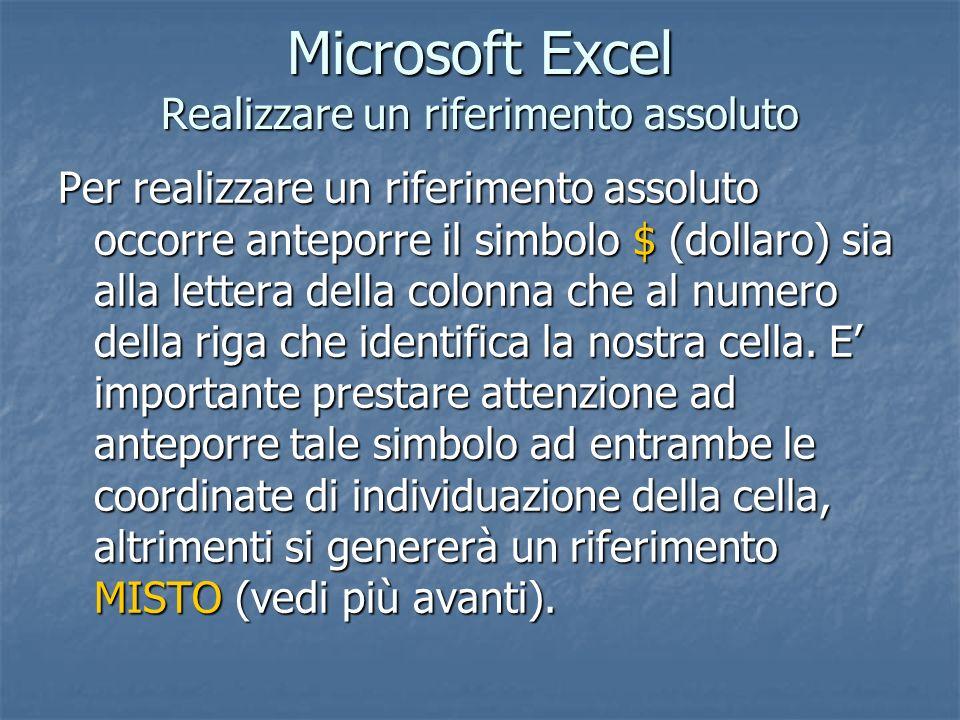 Microsoft Excel Realizzare un riferimento assoluto