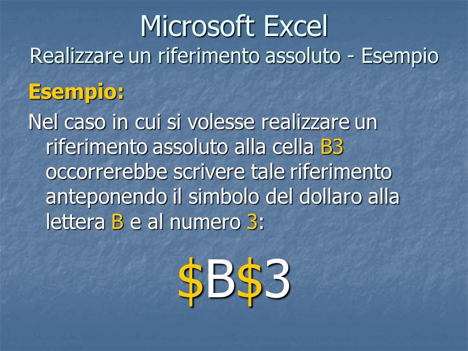 Microsoft Excel Realizzare un riferimento assoluto - Esempio
