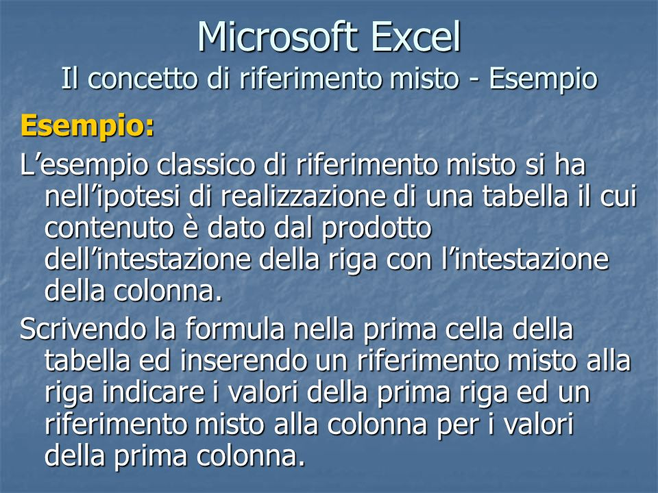 Microsoft Excel Il concetto di riferimento misto - Esempio