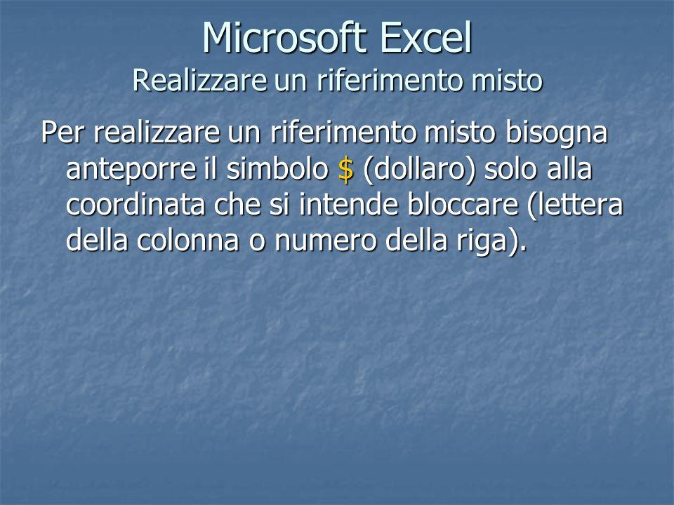 Microsoft Excel Realizzare un riferimento misto