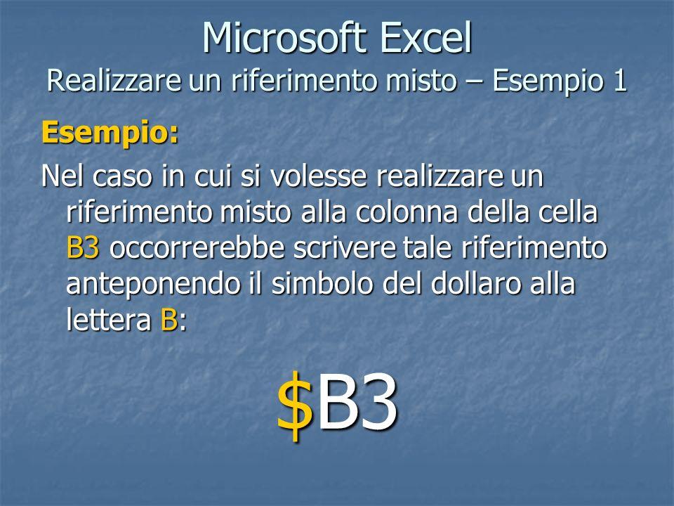 Microsoft Excel Realizzare un riferimento misto – Esempio 1