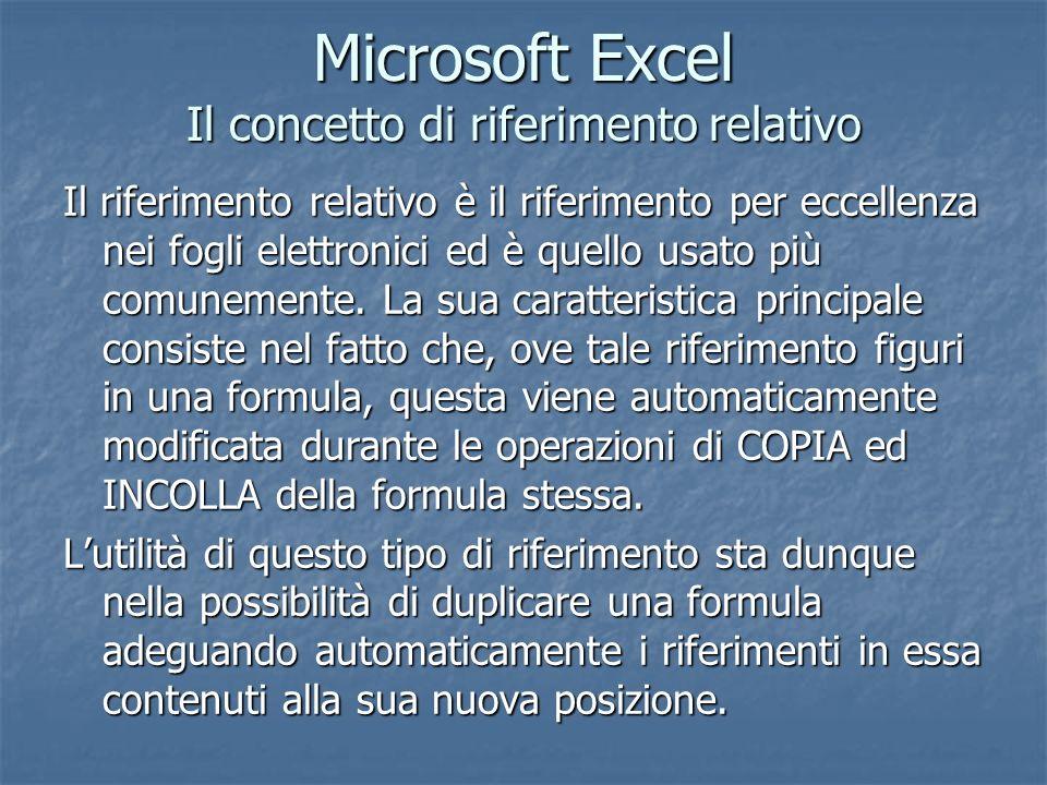 Microsoft Excel Il concetto di riferimento relativo