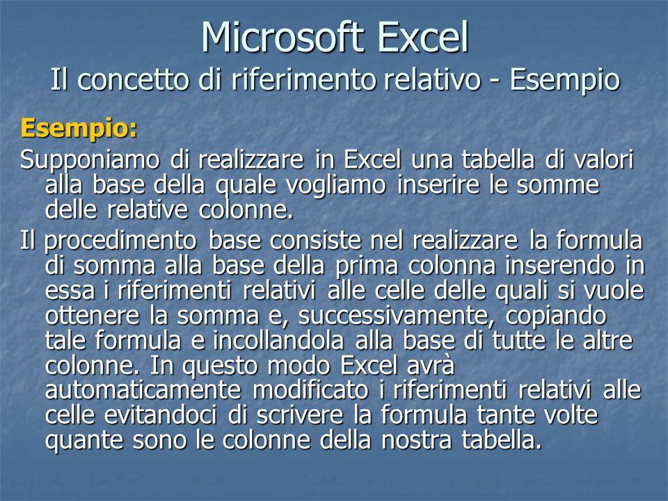 Microsoft Excel Il concetto di riferimento relativo - Esempio