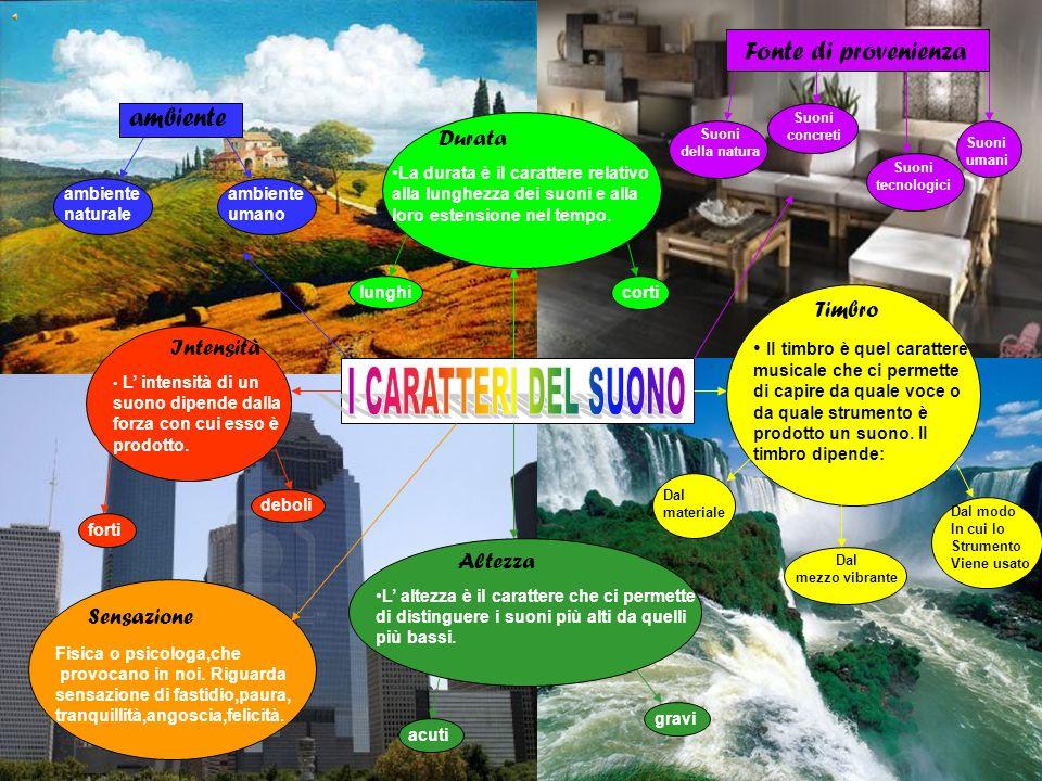 I CARATTERI DEL SUONO Durata Timbro Fonte di provenienza ambiente