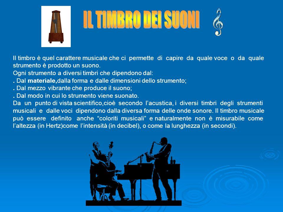 IL TIMBRO DEI SUONI Il timbro è quel carattere musicale che ci permette di capire da quale voce o da quale strumento è prodotto un suono.
