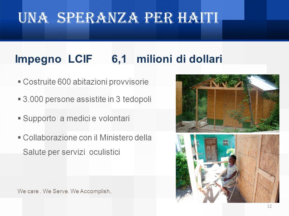 UNA SPERANZA PER HAITI Impegno LCIF 6,1 milioni di dollari