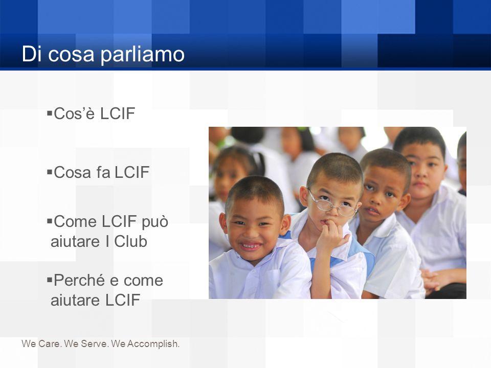 Di cosa parliamo Cos'è LCIF Cosa fa LCIF Come LCIF può aiutare I Club
