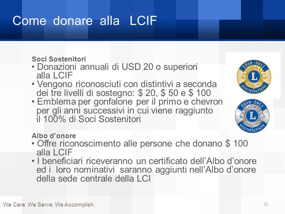 Come donare alla LCIF Donazioni annuali di USD 20 o superiori