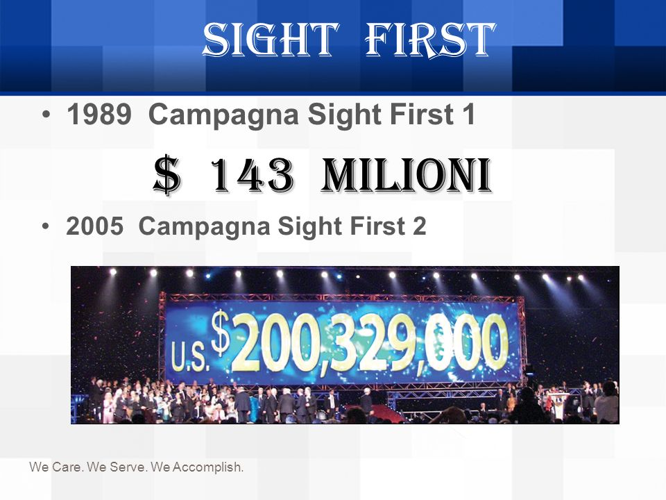 Sight First $ 143 milioni 1989 Campagna Sight First 1