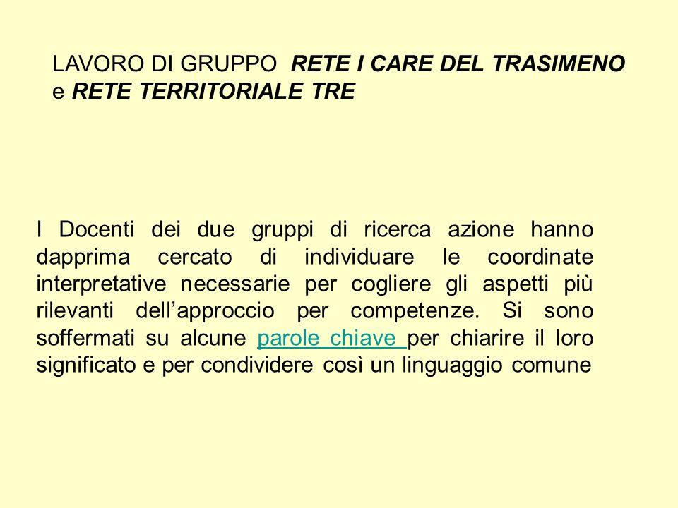 LAVORO DI GRUPPO RETE I CARE DEL TRASIMENO e RETE TERRITORIALE TRE