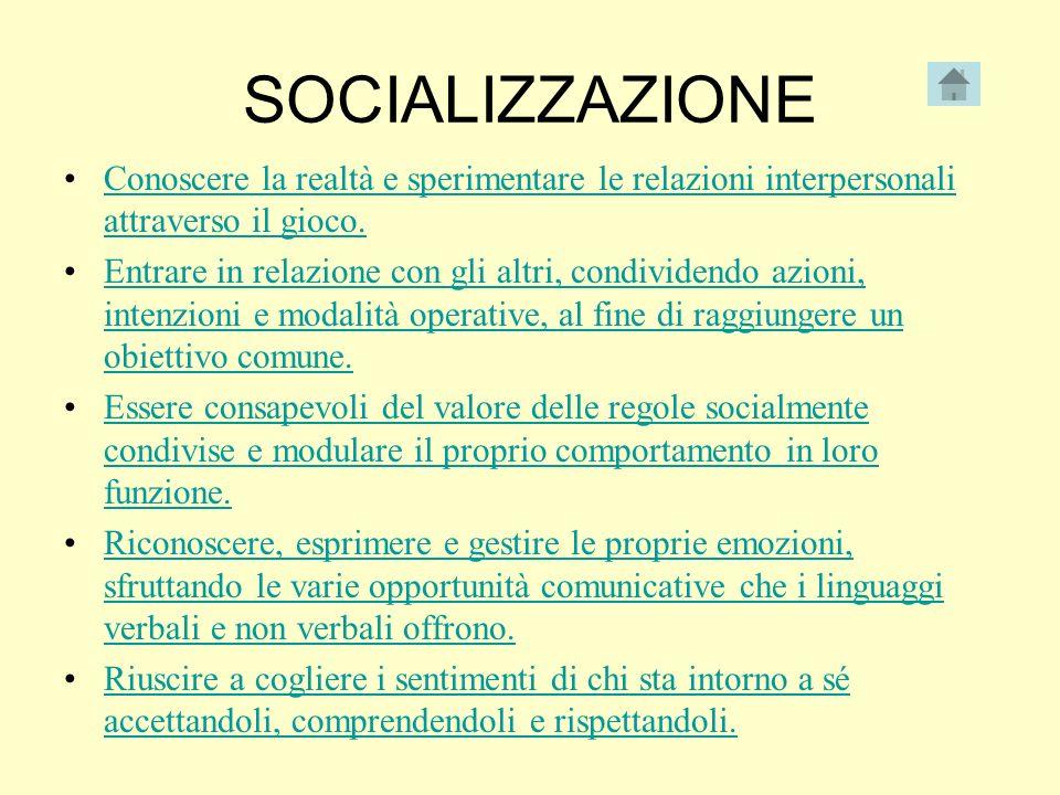 SOCIALIZZAZIONE Conoscere la realtà e sperimentare le relazioni interpersonali attraverso il gioco.