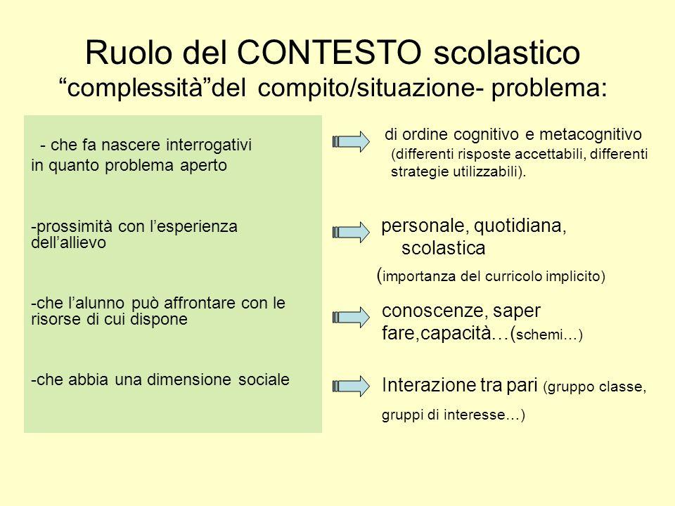 Ruolo del CONTESTO scolastico complessità del compito/situazione- problema: