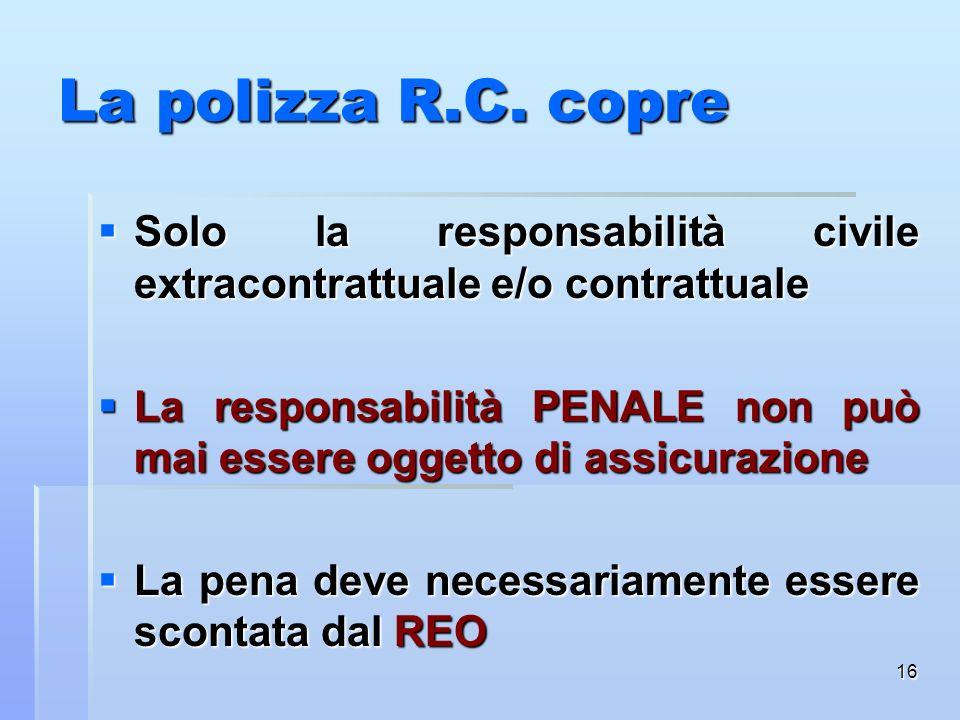 La polizza R.C. copreSolo la responsabilità civile extracontrattuale e/o contrattuale.