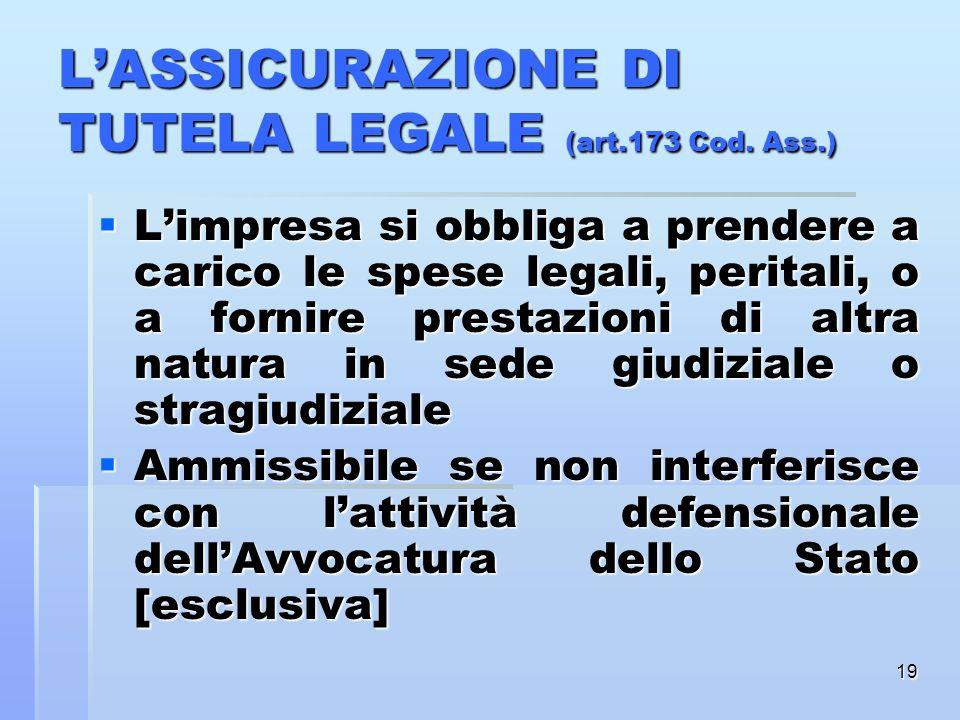 L'ASSICURAZIONE DI TUTELA LEGALE (art.173 Cod. Ass.)
