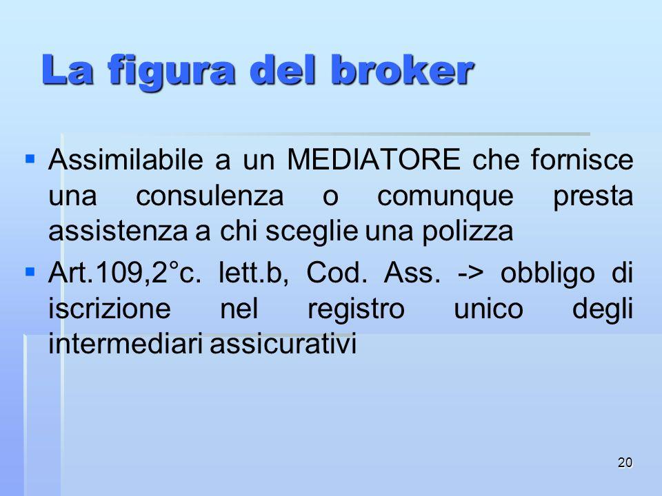 La figura del broker Assimilabile a un MEDIATORE che fornisce una consulenza o comunque presta assistenza a chi sceglie una polizza.