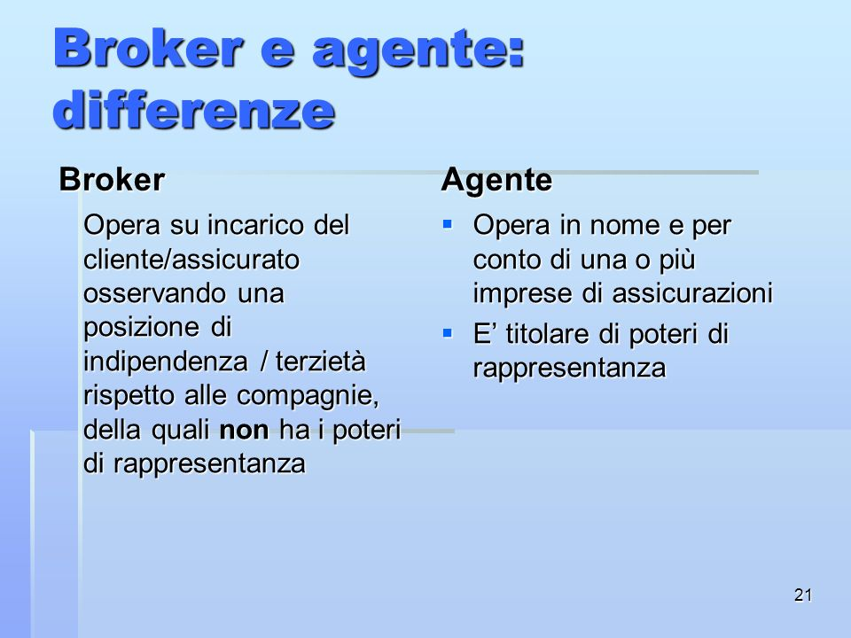 Broker e agente: differenze