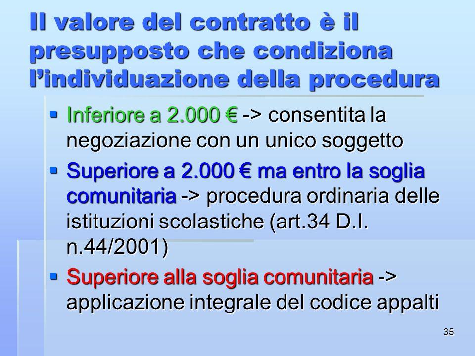Il valore del contratto è il presupposto che condiziona l'individuazione della procedura