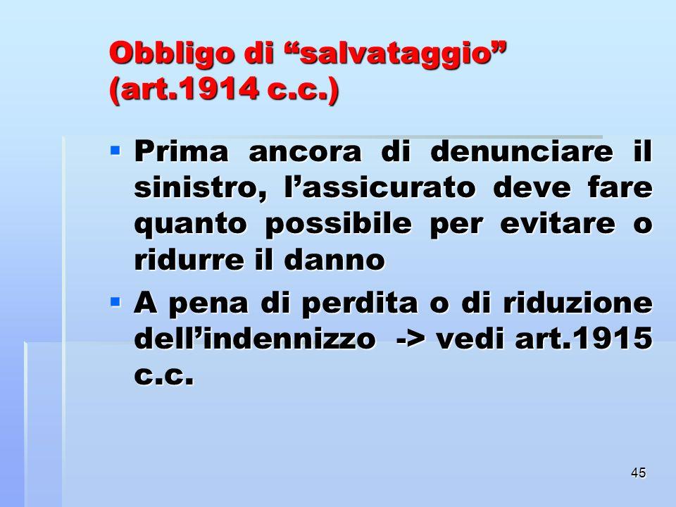 Obbligo di salvataggio (art.1914 c.c.)