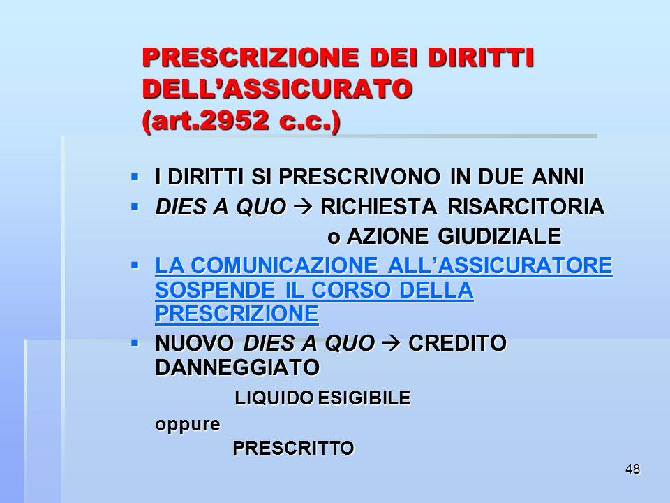PRESCRIZIONE DEI DIRITTI DELL'ASSICURATO (art.2952 c.c.)