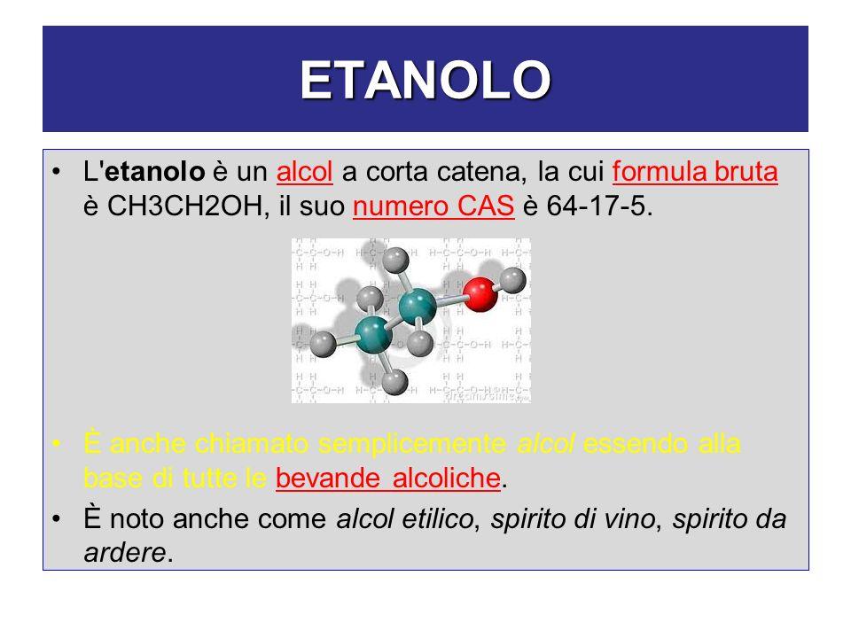 ETANOLO L etanolo è un alcol a corta catena, la cui formula bruta è CH3CH2OH, il suo numero CAS è 64-17-5.